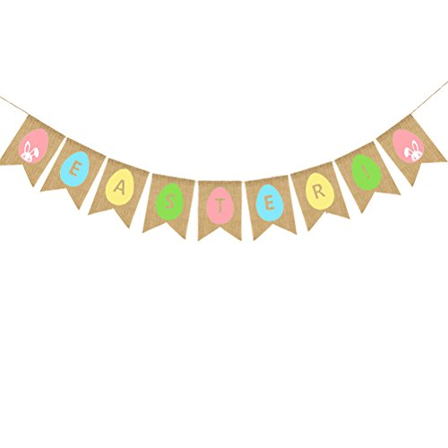 Cheap  OULII EASTER Burlap Banners Colorful Easter Egg and Bunny Pattern Bunting Garland..