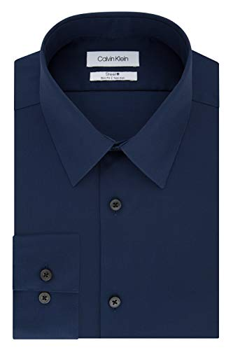 Calvin Klein Men's Dress Shirts Non Iron Slim Fit Solid, Blue Ocean, 17
