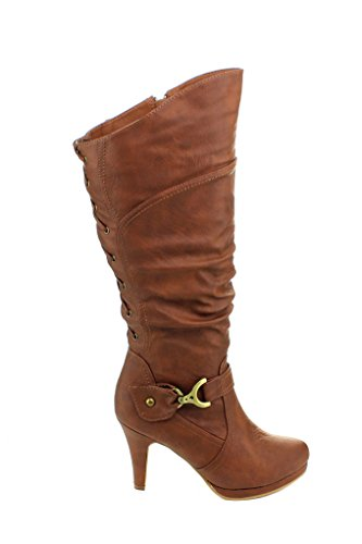 Top Moda Womens Page-65 Knee High Round Toe Lace-Up Slouched High Heel (Tan Leather High Heel)