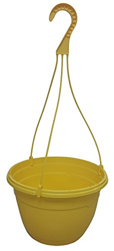Cheap 3 New 10.5 inch Round Plastic Hanging Basket Decorative Fancy Planter, Great Pot for Home Or Patio Garden 3 Pots, Yellow