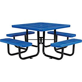 46″ Perforated Square Picnic Table, Blue