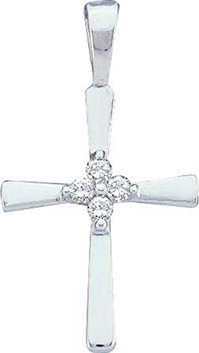 14kt White Gold Womens Round Diamond Cluster Small Cross Faith Pendant 1/20 Cttw