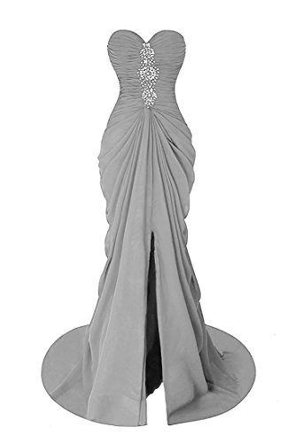 Beaded Strapless Prom Dress - VikDressy Women's Mermaid Beaded Bridesmaid Dress Strapless Split Sexy Evening Prom Dresses Long