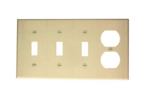 Leviton P38-I 4-Gang 3-Toggle 1-Duplex Device Combination Wallplate, Standard Size, Ivory (Toggle Receptacle Duplex)