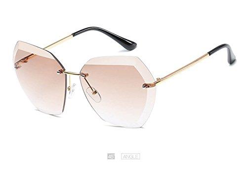 Brown Protrction Sol De Sol Mujeres Tamaño De De Gafas UV400 Clásicas De Las Gafas LZHA Sin Las De Brown Montura Gran 0xRgUwW