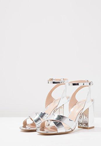 Alto Donna da Argento Sandali Aperto a Similpelle con Alta Caviglia di amp;ODD a Blocco Cinturino Scarpe a Sandaletti Tacco Even con in Tacco qualità Sandalo 5xtwYEnqUS