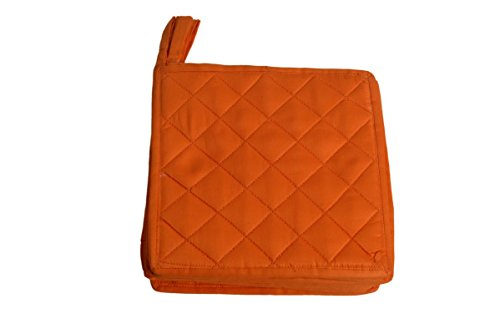 HM Covers Pot Holders 100% Cotton (Pack Of 10) Pot Holder 7 x 7 Square, Solid Orange Color Everyday Quality Kitchen Cooking, Heat Resistance!!