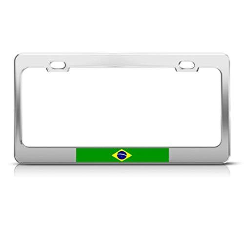 (Customjinlicense Brazil Flag Brazilian Country Metal License Plate Frame Tag Holder 2 Hole Screws)