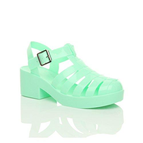 Green Jelly Sandals (Ajvani Women's Mid Block Heel Gladiator Buckle Jelly 90'S Retro Sandals Size 5 36)
