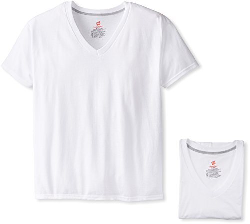 Hanes Ultimate Men's 4-Pack FreshIQ Comfort Blend V-Neck T-Shirt, White, Large