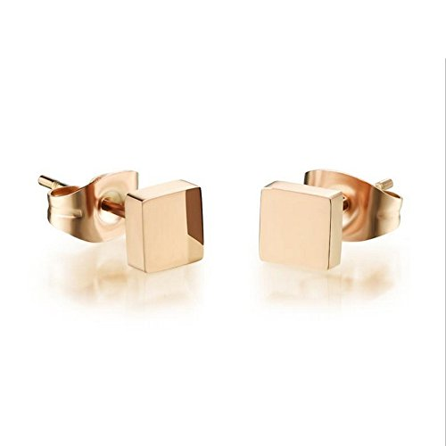 M&T 2015 14K Rose Gold Plated Stainless Steel Stud Earring, A Pair Square Tiny 5mm Stud Earrings Ge313