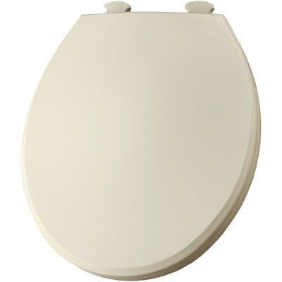 Bemis 800EC346 Plastic Round Toilet Seat with Easy Clean and Change Hinge Biscuit/Linen