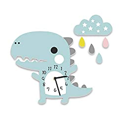 Alwayspon Creative Cartoon Wall Clock Decals for Kids' Bedroom Decor - Self-Adhesive PVC Foam Sticker Clock Silent Non-Ticking (Dinosaur)