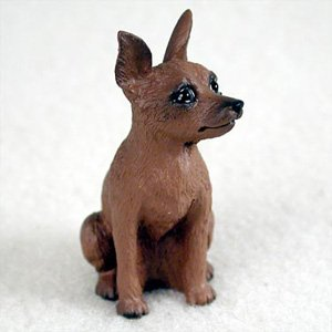 Miniature Pinscher Red And Brown Dog Figurine, Height Approx. 2 Inches (Akc Min Pin)