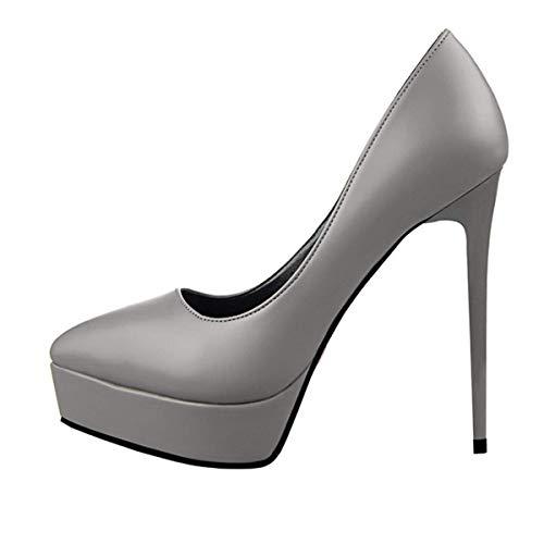 Femme Haut Noir Sexy Casual De Talon Club Mariage Escarpins Gris Confortable En Pour Platforme Fanessy Soirée Marcher 12 Aiguille Épais Cm Cuir Chaussure À Pu Blanc dwXyFq