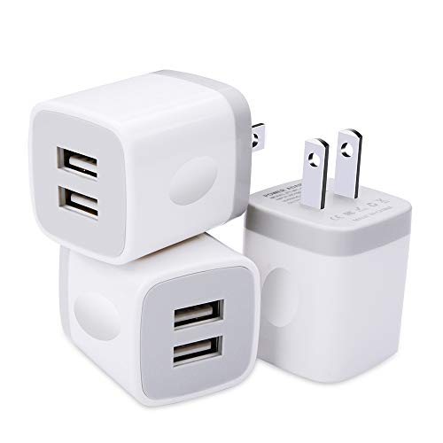 USB Wall Charger 3 Pack, GiGreen Dual Port Charging Plug Adapter, 5V 2.1A Travel Cube Block Fast Phone Power Charging Box Compatible iPhone XS X 8 7, LG V30 G7 G6, Samsung S9+ S8 Note 9 8, Nexus, Moto