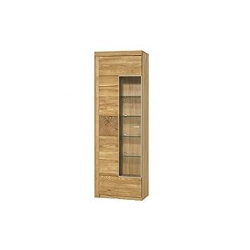 vellini Eiche massiv Holz Glas Tür Display Einheit mit Ablagen Tür ...