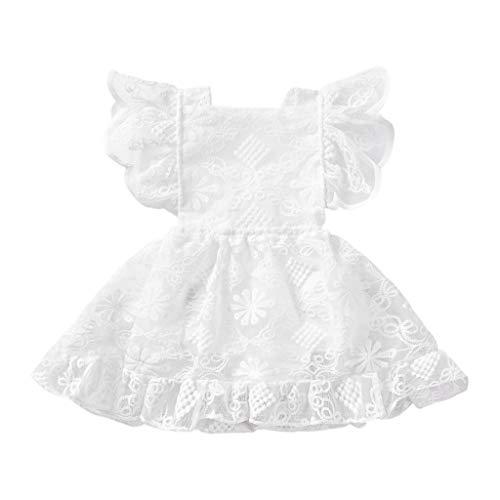 Baby Lace Christening Baptism Girl Dress White Ruffles Sleeve One-Piece Bodysuit