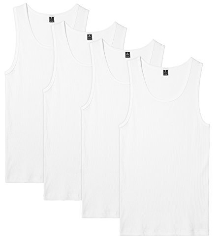 LAPASA Men's 100% Cotton Ribbed Tank Tops Sleeveless Crewneck A-Shirts Basic Solid Undershirts Vests 4 Pack M35 (X-Large, White)
