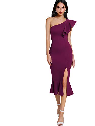 (Floerns Women's Ruffle One Shoulder Split Midi Party Bodycon Dress Purple-1 M)