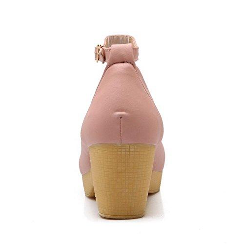 Allhqfashion Femmes Bout Fermé Bout Fermé Toe-talon Matière Souple Pompes-chaussures Avec Métal Rose