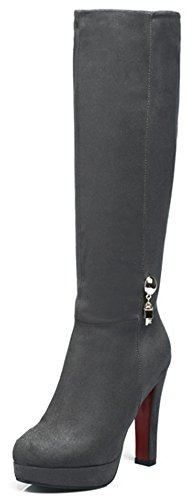 Summerwhisper Women's Sexy Faux Suede Almond Toe Chunky High Heel Side Zipper Platform Under The Knee High Boots Shoes Gray 4.5 B(M) US
