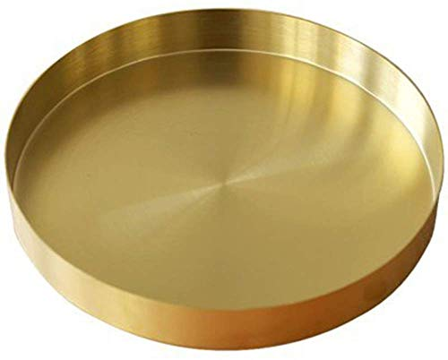 UniDes - Round Brass Tray,Small Gold Decorative Tray Metal Storage Organizer Tray for Modern Home,Matte Brass Finish   7 Inch (Tray Gold Round)