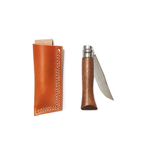Whiskey Opinel® Knife with Walnut Handle & Tan Leather Belt Holster | from Son of a Sailor