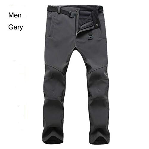Outdoor Winter Men&Women Thick Warm Fleece Hiking Pants Softshell Waterproof Windproof Thermal Camping Climbing Elastic Waist,Men -