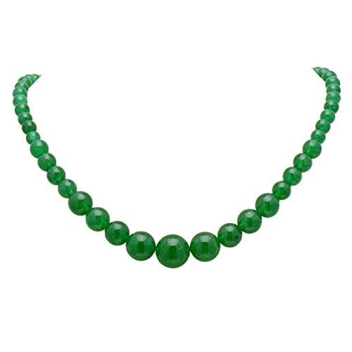 Paialco Women's Graduated Necklace Emerald Green Chalcedony Beads Round Polished Strand 6-14MM, 16 Inches -