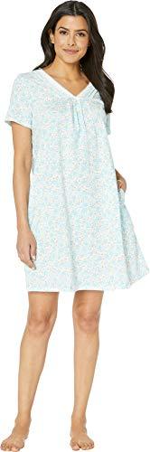 Carole Sleepshirt - Carole Hochman Women's Short Nightgown, Aqua Leaf Ditsy, L