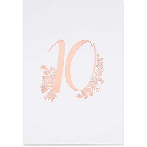 Sweetzer & Orange Rose Gold Table Numbers for Wedding 1 to 40 Elegant Table Number Cards for Weddings, Bar Mitzvah, Quinceanera Decorations, Restaurant and More! Premium Paper Table Numbers