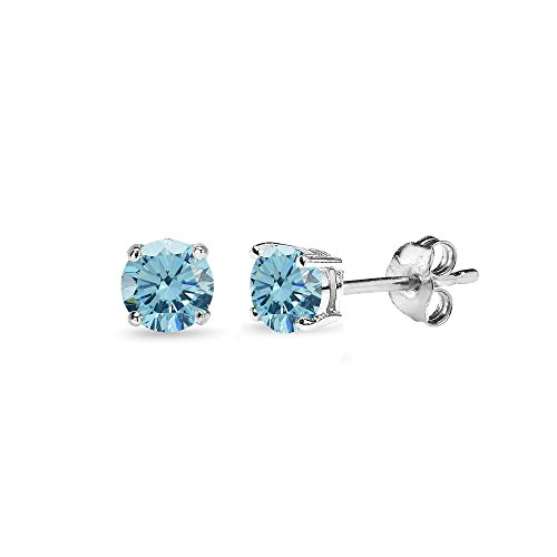 (Sterling Silver 4mm Light Blue Stud Earrings Made with Swarovski)