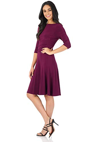 Rekucci Women's Flippy Fit N' Flare Dress with 3/4 Sleeves (16,Wine) 3/4 Sleeve Spandex Wrap