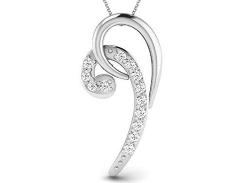 Or Blanc 9 ct Pendentifs Diamant , 0.03 Ct Diamant, GH-SI, 0.44 grammes.