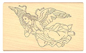 Pink Ink Stamps Angel On HIgh Rubber Stamp