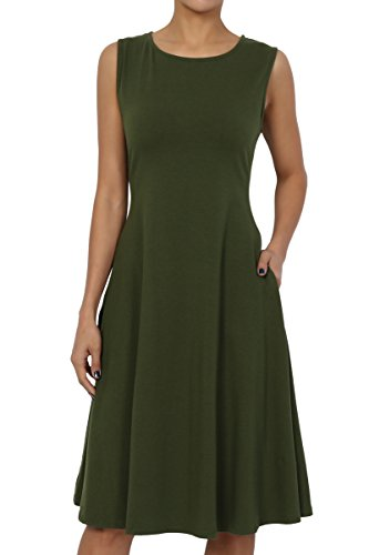 - TheMogan Women's Sleeveless Pocket Stretch Cotton Fit & Flare Dress Olive M