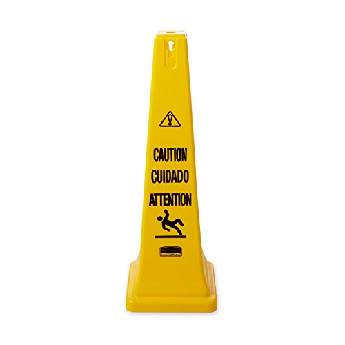 Rubbermaid Commercial Safety Cone, Caution, Safety First, 36-Inch, Multilingual, FG627600YEL