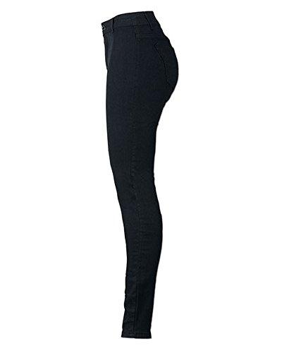 Flaco Cintura Estilo Ocio Alta Jeans Fit Pantalones Vaqueros Delgado negro Twdqq5X