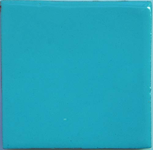 Mexican Tile Solid Turquoise Color Talavera Mexican Hand Painted Tiles Box of 100 Pieces S024