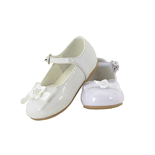 DressForLess Mary Jane with Flower Ribbon Accent Girl Shoes, White, 4