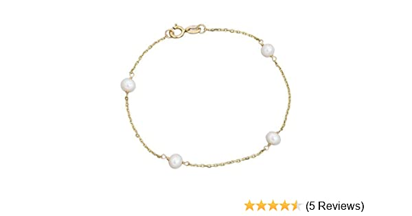 14k Gold Cultured Pearl Station Girls Bracelet 6 Kids Gold Jewelry Source 186