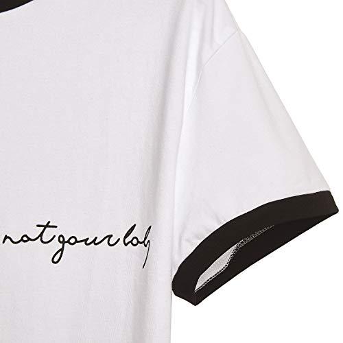 Superior Impresas cuello O Camisetas Corta Letras Bloque Color Manga Cosecha Camiseta White5 Mujer Verano Uvqqd6xw