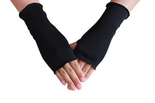 (WomeWell Women Solid Color Sun Block Fingerless Wrist Length Driving Gloves Black)