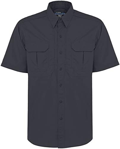 LA Police Gear Short Sleeve Lightweight Cotton/Poly Tactical Field Shirt 2.0, Navy, 2Xlarge