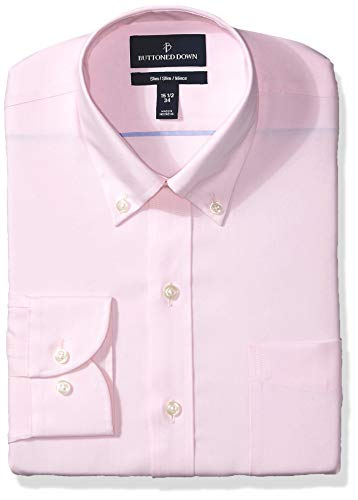 (BUTTONED DOWN Men's Slim Fit Button Collar Solid Non-Iron Dress Shirt, Light Pink/Pockets, 16.5