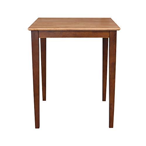 International Concepts Solid Wood Dining Table with Shaker Legs, 30 by 30 by 36-Inch, Cinnemon/Espresso