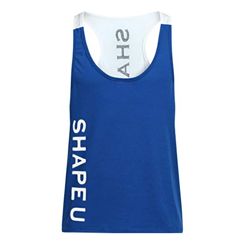 Willow S 2019 New Men Sleeveless Letters Printing Color Matching Muscle Vest Bodybuliding Sport Running Fitness Tees Blue -