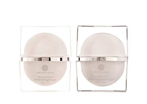 Forever Flawless Hydra Day and Night Moisturizer Cream Set - Infused with Diamond Powder and Vitamin C Designed for Anti-Aging and Anti-Wrinkles