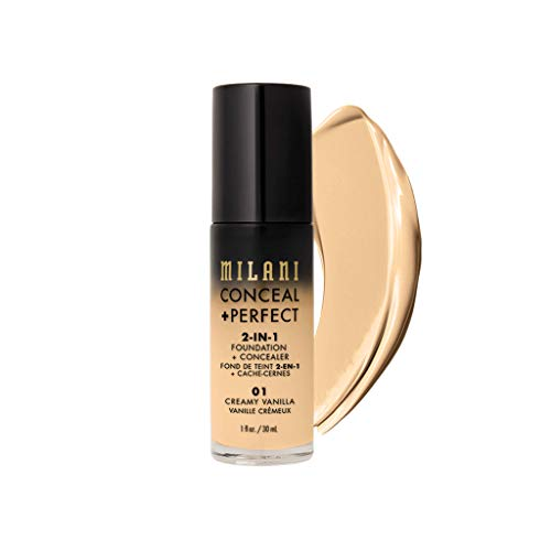 Milani Conceal + Perfect 2-in-1 Foundation + Concealer - Creamy Vanilla (1 Fl. Oz.) Cruelty-Free Liquid Foundation - Cover Under-Eye Circles, Blemishes & Skin Discoloration for a Flawless Complexion (Drugstore Foundation With The Best Coverage)
